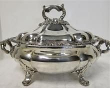 """Large Antique English, Old Sheffield Plate Soup Tureen. Circa 1825. Oval Melon Shaped Soup Tureen On Four Feet. English, Old Sheffield Plate, Circa 1825. Beautiful Hand Engraved Monogram On One Side Of Body & Lid. Great Quality & Condition. Excellent As A Centerpiece With Or Without It's Cover. 16"""" x 10"""" x 11"""" High (5.75"""" High Without Lid). Just One Of A Selection Of Soup Tureens Available In Our Huge Inventory Available For Inspection At Our Manhattan Gallery. For Sale at…"""