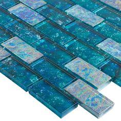 Ivy Hill Tile Marina Iridescent Aqua Brick 11 in. 8 mm Glass Mesh-Mounted Mosaic - The Home Depot Swimming Pool Tiles, Swimming Pool Designs, Glass Pool Tile, Mosaic Glass, Shower Backsplash, Splashback Tiles, Backsplash Ideas, Iridescent Tile, Mosaic Wall Tiles