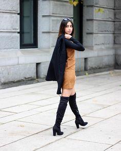70s inspired suede shift dress + Long black cardigan + Steve Madden Masqrade OTK boots. #outfit #inspiration #overtheknee  Photo: RandaSalloum.com