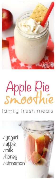 Healthy Apple Pie Smoothie - A great breakfast or snack familyfreshmeals Yummy Smoothie Recipes, Healthy Smoothies, Yummy Drinks, Healthy Drinks, Healthy Snacks, Yummy Food, Delicious Recipes, Simple Smoothies, Yogurt Recipes