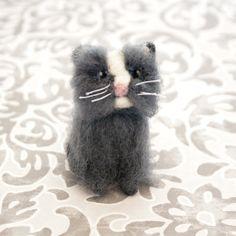 Miniature grey and white needle felted cat by CraftsByKeri on Etsy, $24.00 #EtsyAAA #Etsy