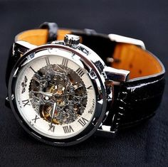 Mens Watch / Vintage Style Watch / Handmade Style Watch / Leather Watch / Chain Hollow Out Mechanical Watch (WAT0042-black) - Thumbnail 2