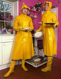 Two lovely kitchen helpers dressed in their yellow macs  boots and gloves.!!