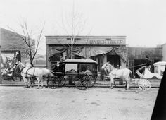 Horse drawn hearses in front of funeral home of C.W. Franklin, undertaker, Chattanooga, Tennessee 1899