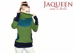 Sweater Kragen grün petrol von Jaqueen auf DaWanda.com