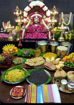 Varalakshmi Vratham 2019 honours the most popular Goddess Maha Lakshmi. Varalakshmi Puja or homam on this day means abundant wealth is sure to come your way. Ganesh Pooja, Shri Ganesh, Krishna, Backdrop Decorations, Festival Decorations, Ganesha Rangoli, Lord Murugan Wallpapers, Silver Pooja Items, Ganapati Decoration