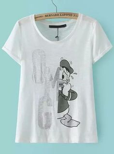 Buy White Short Sleeve Donald Duck Print T-Shirt from abaday.com, FREE shipping Worldwide - Fashion Clothing, Latest Street Fashion At Abaday.com