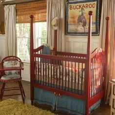 adorable red crib with denim dust ruffle! Cute for baby cowboy or cowgirl nursery!