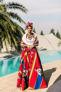 The Swati dress by Tuelo Nguyuza - Swaziland African Fashion Designers, African Inspired Fashion, Latest African Fashion Dresses, African Print Fashion, African Traditional Wedding Dress, African Wedding Dress, Traditional Outfits, Traditional Weddings, African Attire
