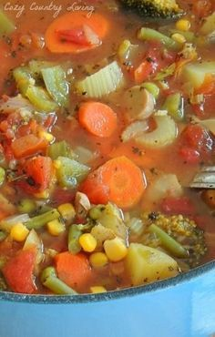 Soup Loaded Vegetable Soup ~ i omitted the corn and potatoes and it was delicious! and only used about 7 cups of water.Loaded Vegetable Soup ~ i omitted the corn and potatoes and it was delicious! and only used about 7 cups of water. Vegetable Soup Recipes, Vegetarian Recipes, Cooking Recipes, Healthy Recipes, Homemade Vegetable Soups, Chicken Vegetable Soup Crockpot, Vegetable Potato Soup, Vegetarian Barbecue, Healthy Soups