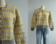 Interesting vintage cardigan (note the moss stitch band down the centre and square neck. Label: Husfliden, Bergen Handmade in Norway. Fair Isle Knitting, Hand Knitting, Norwegian Knitting, Moss Stitch, Fair Isle Pattern, Knit In The Round, How To Purl Knit, Yellow Sweater, Knitwear