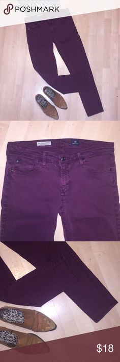 "AG Stevie Ankle Pants Lovely purple/maroon stretch trousers by Adriano Goldschmeid. Stevie ankle cut. Lots of stretch. Size 29. 15.5"" waist flat. 8.5"" rise. 28.5"" inseam. Ag Adriano Goldschmied Pants Skinny"