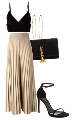 A fashion look from February 2017 featuring cut-out crop tops, high rise pants and ankle strap heel sandals. Browse and shop related looks. Night Outfits, Classy Outfits, Stylish Outfits, Summer Outfits, Dinner Party Outfits, Black Women Fashion, Look Fashion, Fashion Outfits, Womens Fashion