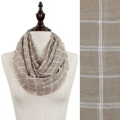 Checker Plaid Woven Infinity Scarf