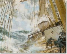 Decks Awash. He achieved great commercial success starting in the 1920's, showing at the Royal Academy from 1916 to 1936 and regularly at the Royal Society of Marine Artists, of which he was a member.