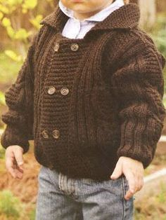 Discover thousands of images about Chaqueta de punto paso a paso en Inke, Madrid Baby Boy Knitting, Knitting For Kids, Baby Knitting Patterns, Baby Patterns, Free Knitting, Knitting Needles, Cardigan Bebe, Baby Pullover, Crochet For Boys