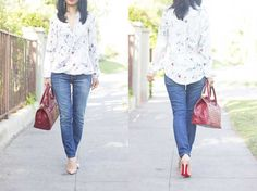 Floral wrap blouse, structure red bag, skinny denim and nude pumps