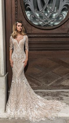 crystal design 2018 half sleeves illusion bateau sweetheart neckline full embellishment elegant fit and flare wedding dress scoop back chapel train (valery) mv -- Crystal Design 2018 Wedding Dresses Amazing Wedding Dress, Dream Wedding Dresses, Designer Wedding Dresses, Bridal Dresses, Wedding Gowns, Ohh Couture, Fit And Flare Wedding Dress, Open Back Wedding Dress, Bridal Fashion Week