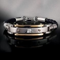 Diamond for Mens Men's Diamond Leather Bracelet - Men's Bracelets - Men's Jewelry - Jewelry Double Wow! Bracelets For Men, Fashion Bracelets, Fashion Jewelry, Men's Jewelry, Bracelet Men, Garnet Jewelry, Leather Bracelets, Jewelry Stores, Mens Diamond Bracelet