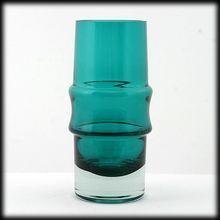 Rihiimaki Lasi Tamara Aladin Green Vase Scandinavian Art Glass Vintage Finland