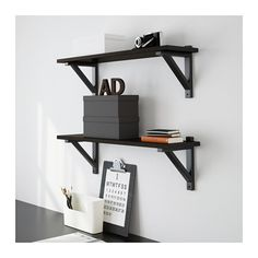 IKEA - EKBY JÄRPEN, Shelf, black-brown, To be completed with EKBY brackets for deep shelves, sold separately. At Home Furniture Store, Modern Home Furniture, Affordable Furniture, Ikea Wall Shelves, Black Wall Shelves, Hemnes, Ikea Office Organization, Ikea Ekby, Ikea Us