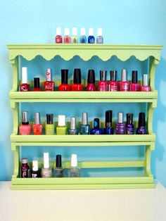 Storing nail polish on spice racks!