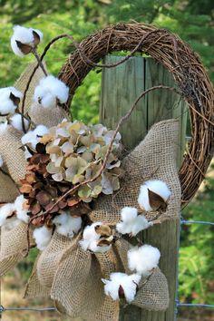 Natural Cotton Boll Wreath Small Cotton Wreath Raw by Mugnique