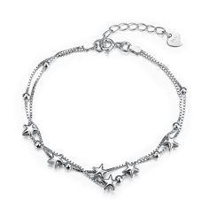 2017 New Arrival 925 Sterling Silver Bracelets For Women Fashion sterling-silver-jewelry Charm Box Chain Star Bracelet Femme Star Jewelry, Jewelry Gifts, Fine Jewelry, Silver Jewellery, Jewelry Party, Crystal Jewelry, Crystal Beads, Wedding Jewelry, Silver Bracelets For Women