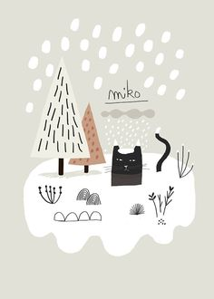 Items similar to Miko Snow / Art Print / Giclee Print / Poster / Illustration / Black Cat on Etsy - Size: 21 x cm / x cm Impression Numérique Sur papier Signé - Art And Illustration, Illustration Mignonne, Illustration Inspiration, Pattern Illustration, Baby Poster, Snow Art, Poster Prints, Art Prints, Cat Art