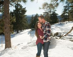 Mount Falcon Park Mountain Winter Engagement Kiss on Forehead