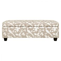 Accessories and Furniture. Contemporary Cream Tan Floral and Bird Patterned Storage Bench Ottoman. Modern Multifunctional Ottoman Designs