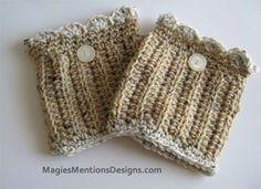 Womens / Teens Crochet Boot Cuff with Button - Light Beige Cream Multicolor Boot Topper - Handmade $14.95