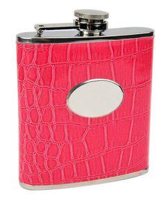New Pink Faux Eel Skin 6 oz Alcohol Liquor Hip Wine Flask - By Top Shelf Flasks