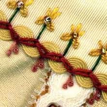 embroidery -smb: lovely way to incorporate rick rack or other pretty bindings.