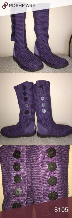 Ugg Classic Cardy Boot Gorgeous tall sweater boot! Gently worn no rips all buttons intact. Can be worn up or folded down 💜 UGG Shoes Winter & Rain Boots