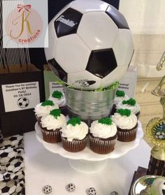 Soccer birthday party cupcakes!  See more party planning ideas at CatchMyParty.com!