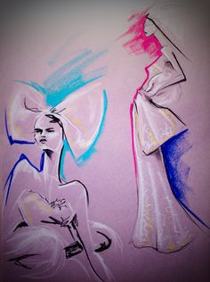 Model drawing in pastel, fashion illustration