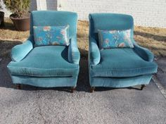 I love these chairs, they look so comfy Wingback Chair, Armchair, Theodore Alexander, Home Living Room, Aqua Blue, Glass Door, Classic Style, Accent Chairs, Comfy