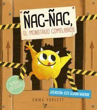 Ñac-ñac, el monstruo comelibros, ha mordido las páginas de este álbum hasta escaparse de él… ¡y ya ha empezado a zamparse otros cuentos!  ¡Mucho cuidado con él!