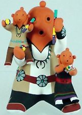 Hopi Indian Mudhead Storyteller Pottery with 2 Kids by Tony Dallas