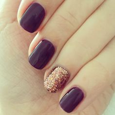 Autumn nails plum and rose gold glitter