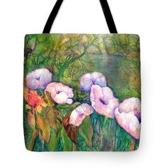 Poppy Flowers Tote Bag featuring the painting White Poppy Flowers at the Pond by Sabina Von Arx Green Bathroom Decor, Poppy Flowers, Thing 1, Creative Colour, Painting Techniques, Bag Sale, Color Show, Green Colors, Pond