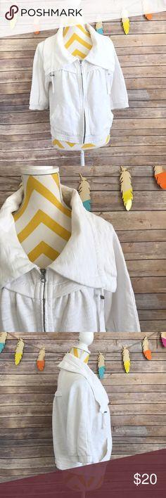 LOFT lounge white zip up sweater top Euc! No flaws. Zipper works perfect , pockets on both side, 3/4 sleeve. 100% cotton LOFT Tops Sweatshirts & Hoodies