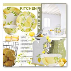 """Kitchen Lemon"" by brendariley-1 ❤ liked on Polyvore featuring interior, interiors, interior design, home, home decor, interior decorating, blomus, Sur La Table, Pier 1 Imports and kitchen"