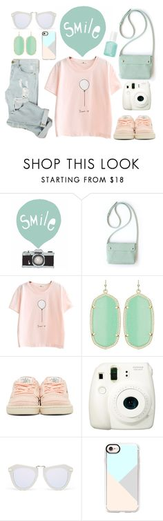 """smile"" by rumpelkiste ❤ liked on Polyvore featuring Seventy Tree, Kendra Scott, Reebok, Fuji, Karen Walker and Casetify"