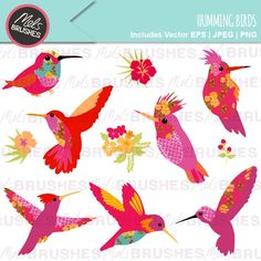 Humming Birds - patterned humming birds for card making, crafts, digital scrapbooking or invitations.