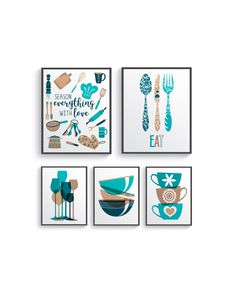 Funny Teal Brown Kitchen Wall Decor, Teal Brown Kitchen wall art prints set, Kitchen prints, Modern Home Decor, Dining room decor