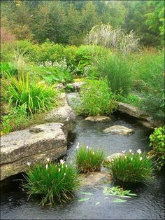 Placing garden rocks around the edge of a large garden pond, especially larger rocks and boulders helps to create a more realistic and natural effect.