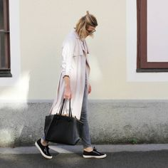 tifmys - Ray Ban Vintage sunnies, H&M trenchcoat and skinnies, Zara bag & Superga sneakers.