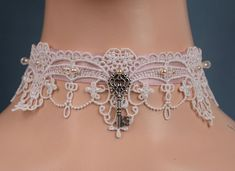 Your place to buy and sell all things handmade Pearl Beads, Crystal Beads, Glass Beads, Crystals, White Lace Choker, Key Pendant, Lace Collar, Pink Satin, Rarity